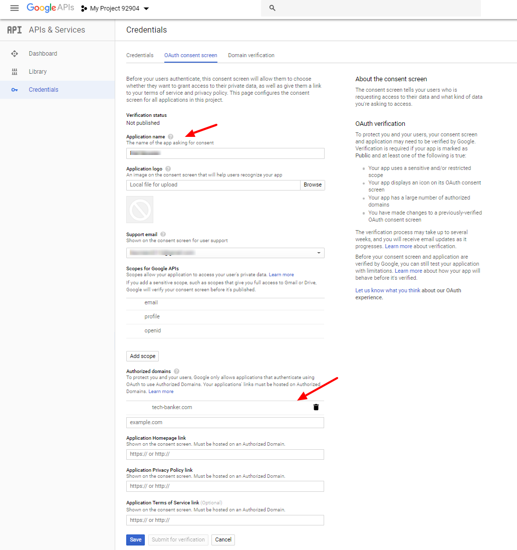 Gmail OAuth Consent Screen Credentials