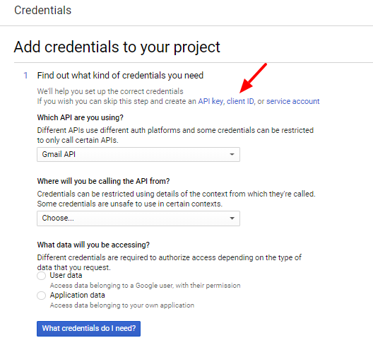 Gmail OAuth Create Client ID Link