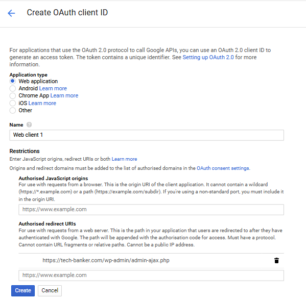 Gmail OAuth Create OAuth Client ID