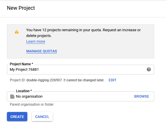 Gmail OAuth Provide Project Name