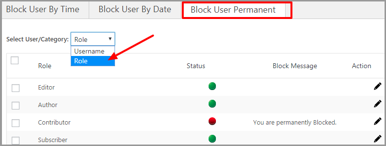 Block User By Role