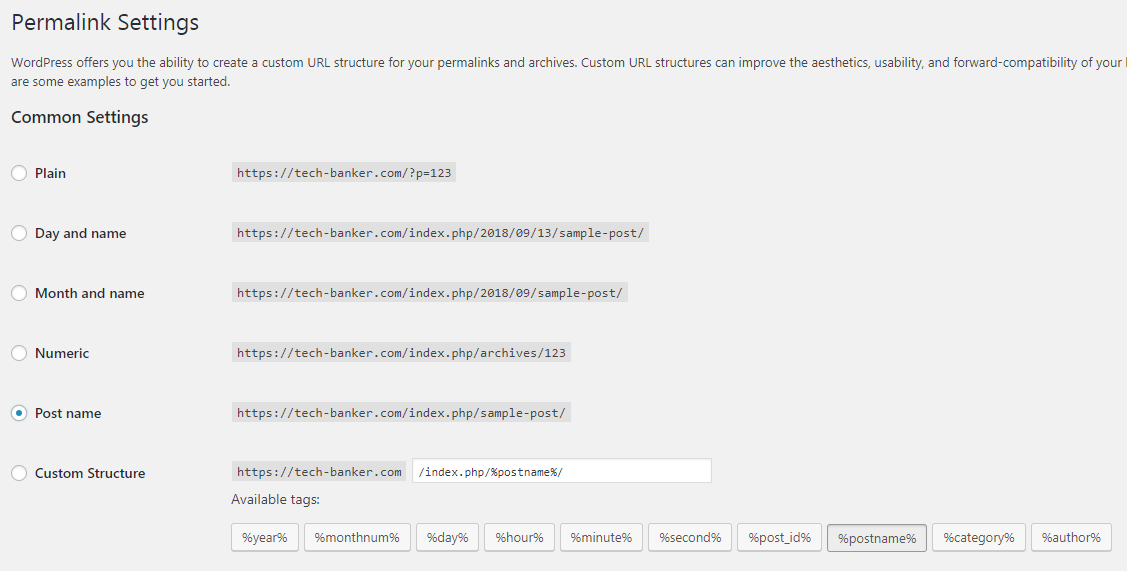 Change Permalinks In Permalinks Settings