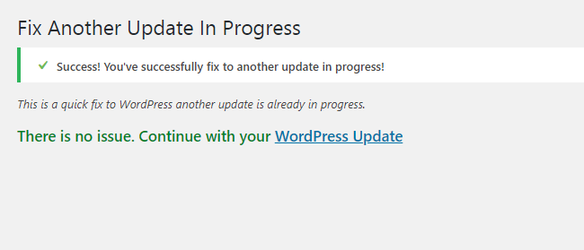 How To Fix Another Update In Process Error Plugin Success Message