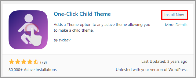 Install One Click Child Theme