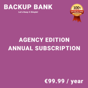 Backup Bank Agency Edition – Annual Subscription