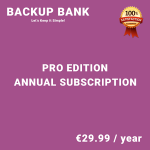 Backup Bank Pro Edition - Annual Subscription