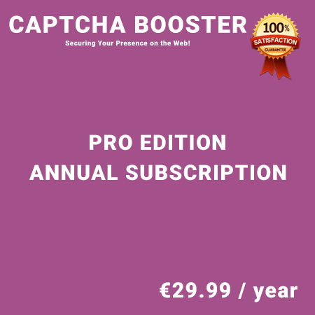 Captcha Booster Pro Edition - Annual Subscription