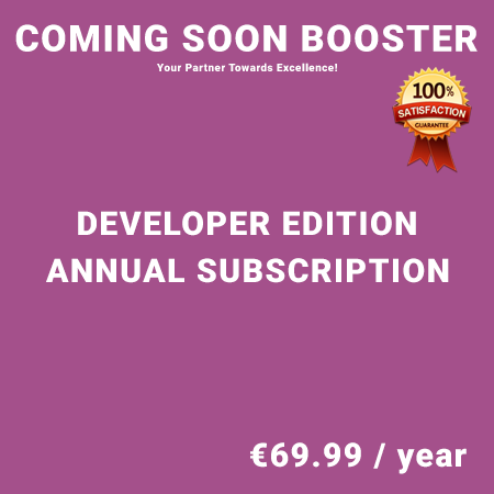 Coming Soon Booster Developer Edition - Annual Subscription