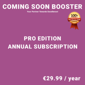 Coming Soon Booster Pro Edition - Annual Subscription