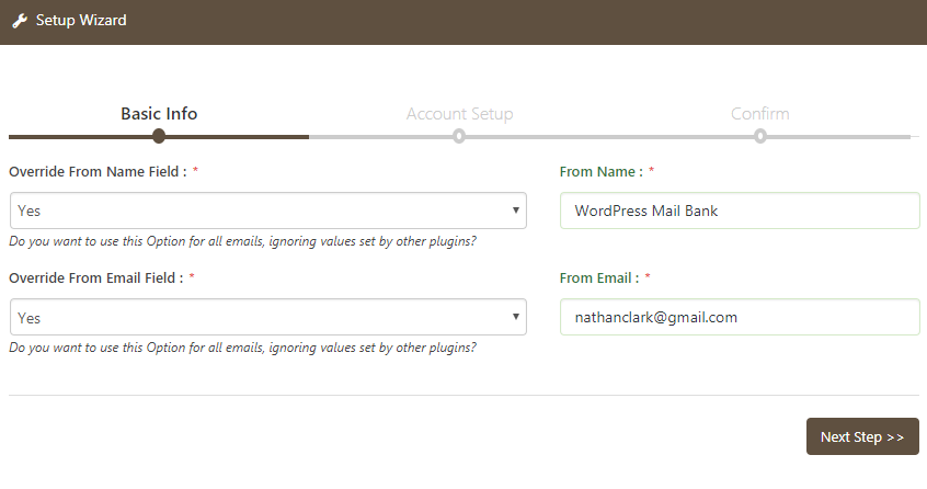 WP Mail Bank Email Setup Basic Info