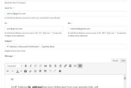 Email Template IP Address Range Unblocked