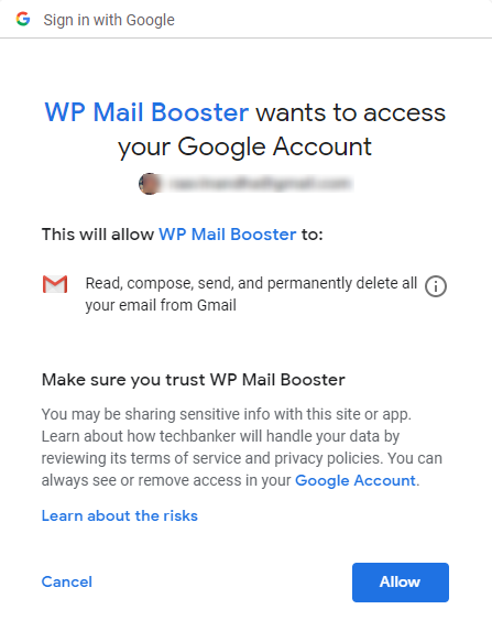 Gmail OAuth allow Permissions WP Mail Booster