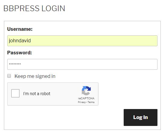 Google Recaptcha bbPress Login Form