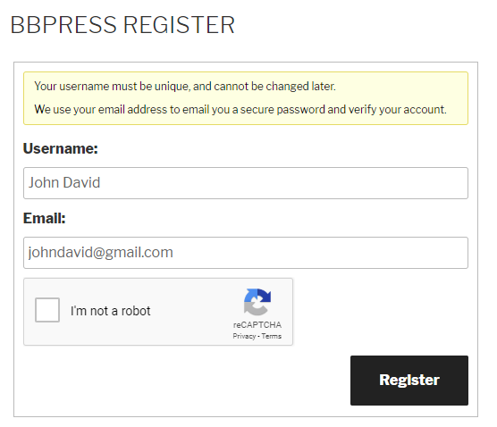 Google reCaptcha bbPress Register Form