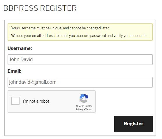 Google reCaptcha bbPress Register Form