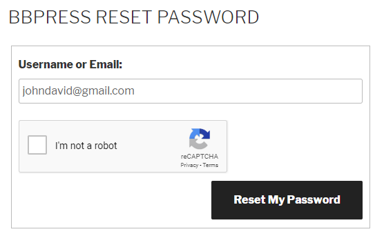 Google Recaptcha bbPress Reset Password