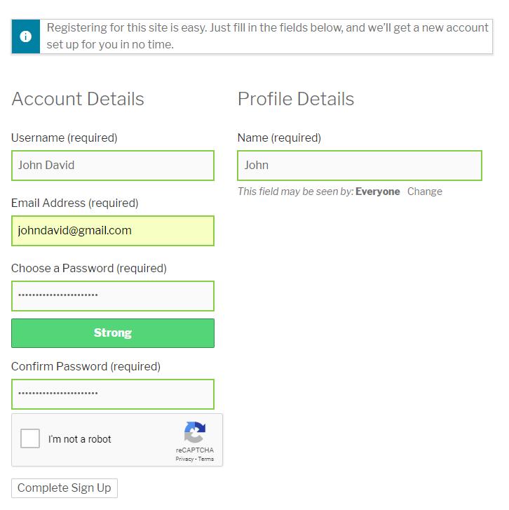Google Recaptcha BuddyPress Registration Form