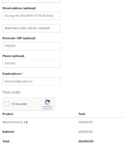 Google reCaptcha WooCommerce Checkout Form