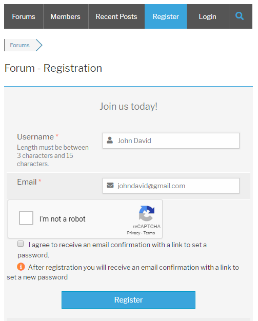 Google Recaptcha wpForo Register Form
