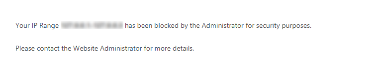 Add Custom Error Message Block IP Range