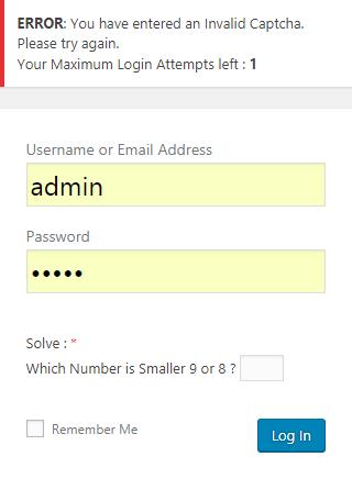 Add Custom Error Message Invalid Captcha