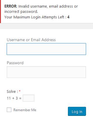 Add Custom Error Message Maximum Login Attempts