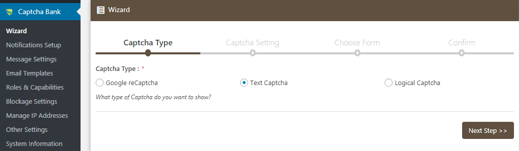 Generate Text Captcha Wizard Setup