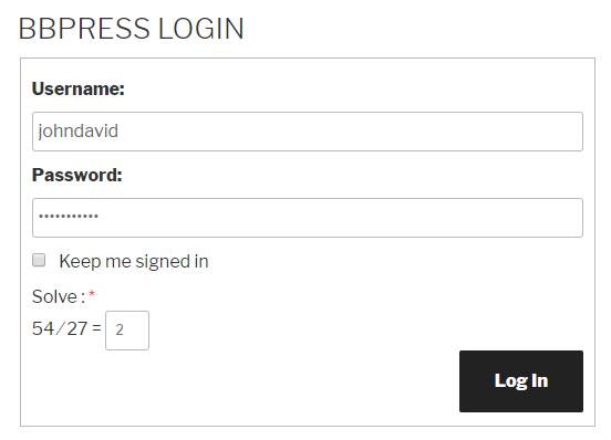 Logical Captcha bbPress Login Form