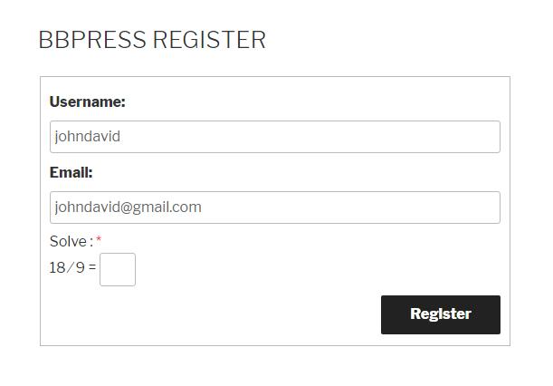 Logical Captcha bbPress Register Form
