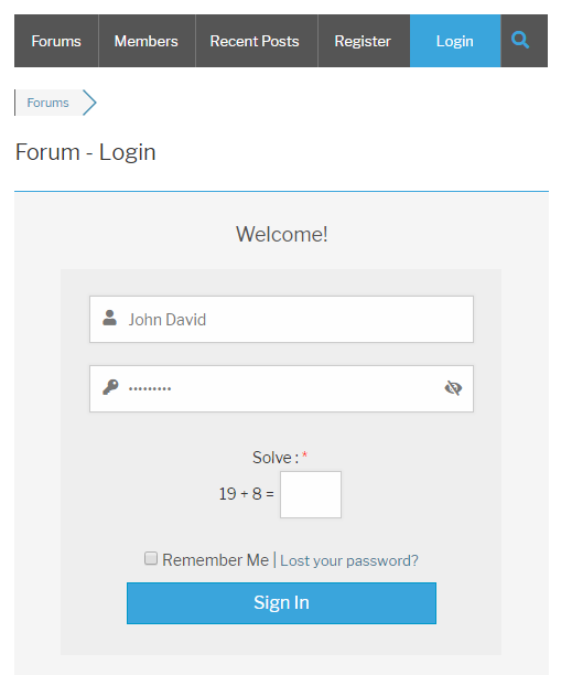 Logical Captcha wpForo Login Form