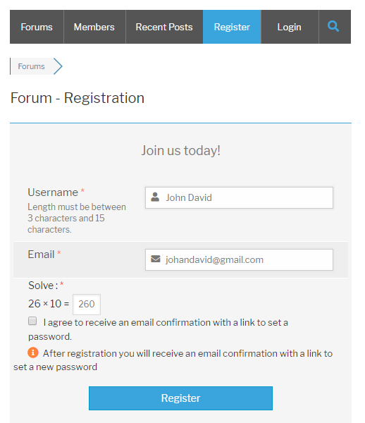 Logical Captcha wpForo Register Form