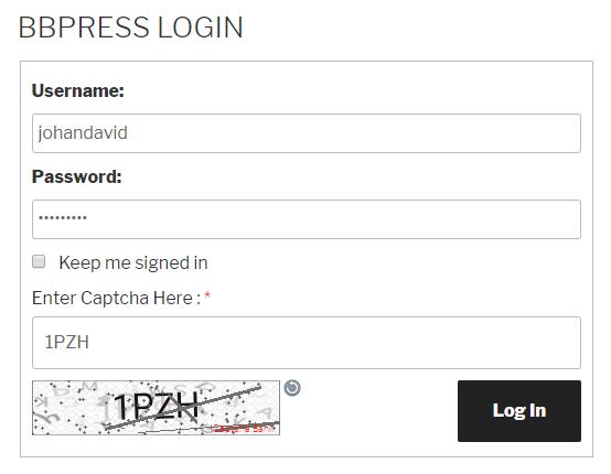 Text Captcha bbPress Login Form