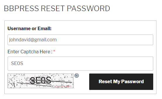 Text Captcha bbPress Reset Password