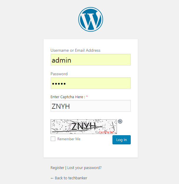 Text Captcha Login Form