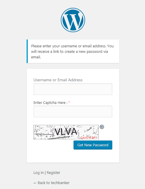 Text Captcha Reset Password Form