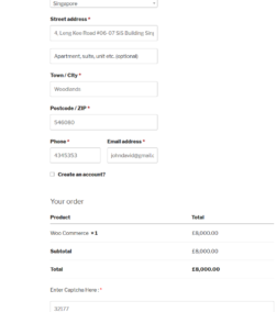 Text Captcha Woocommerce Checkout Form