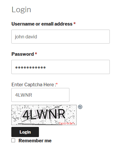 Text Captcha Woocommerce Login Form