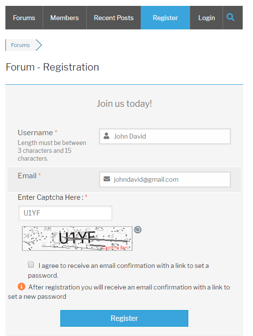 Text Captcha wpForo Register Form