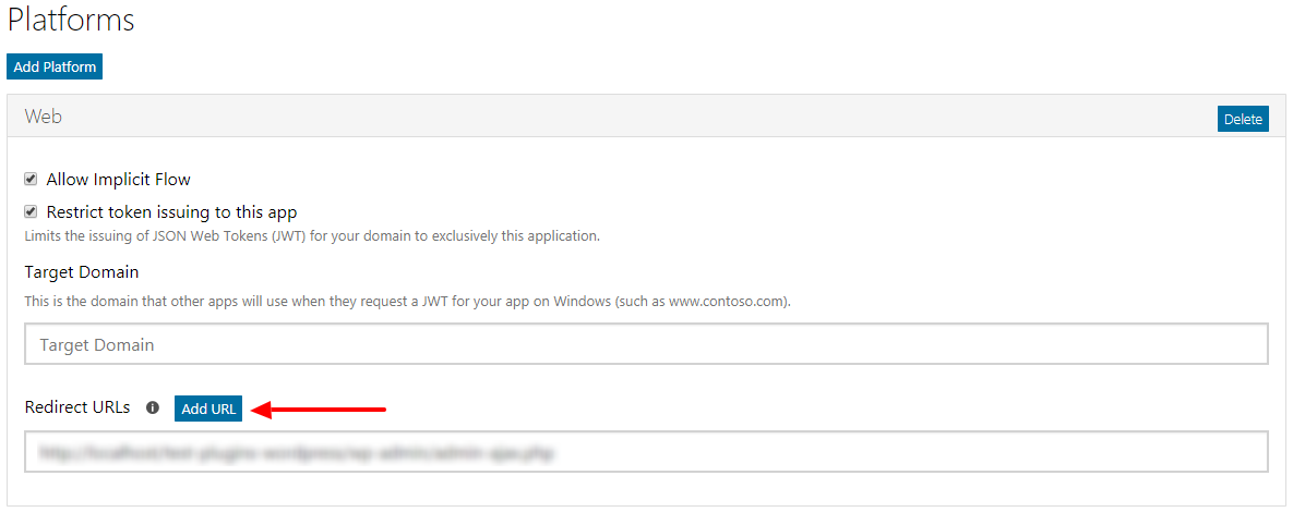 Office 365 OAuth Redirect Url
