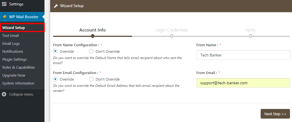 WP Mail Booster Account Info