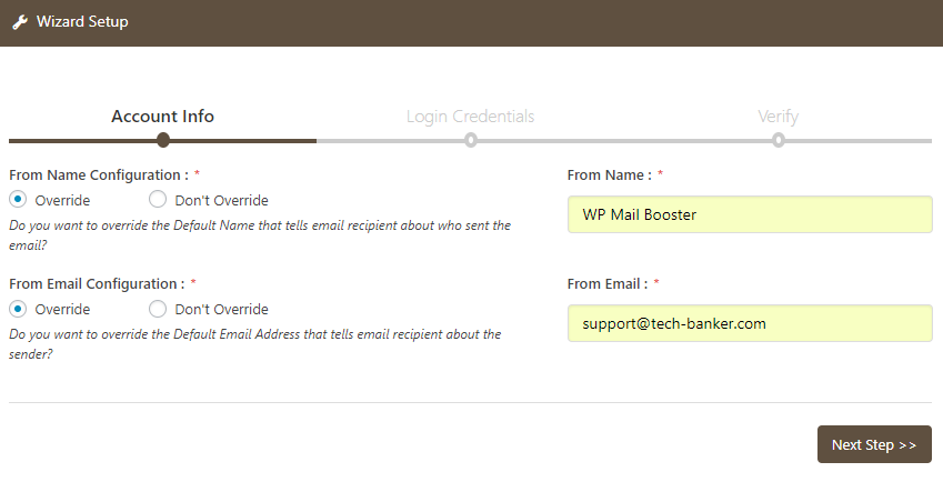 WP Mail Booster Wizard Setup Account Info