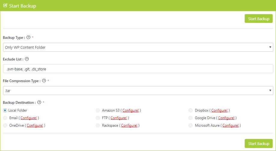 Start WP Content Folder Backup