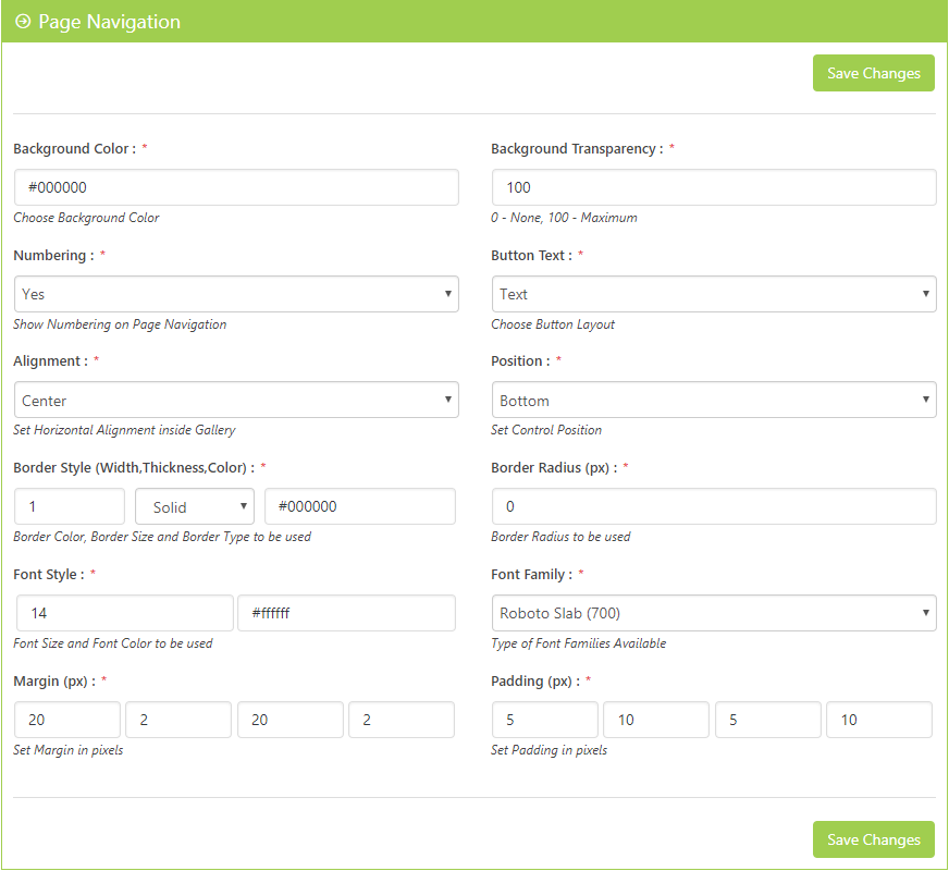 Page Navigation Settings