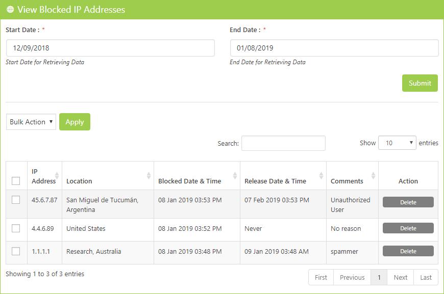 View Blocked IP Addresses