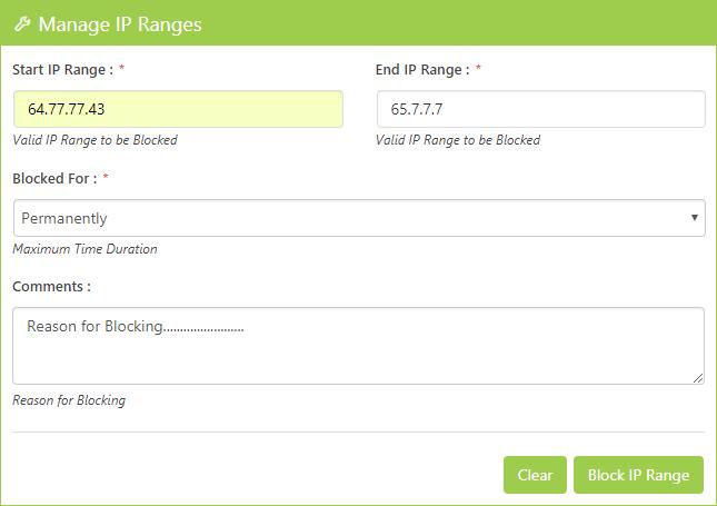 Manage IP Ranges