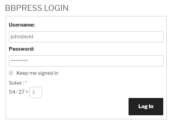 bbPress Login Form Logical Captcha
