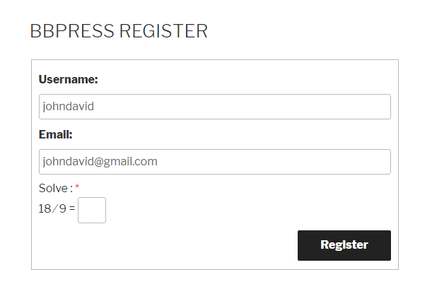 bbPress Register Form Logical Captcha