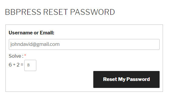 bbPress Reset Password Logical Captcha