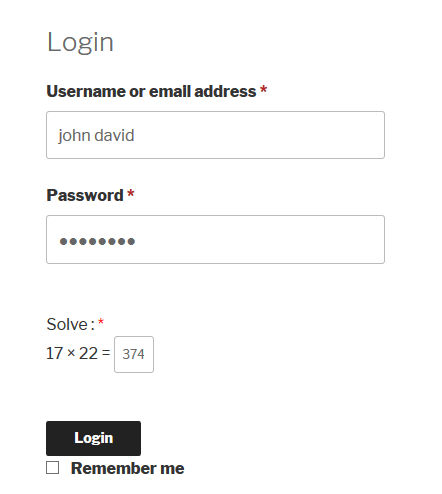 WooCommerce Login Form Logical Captcha