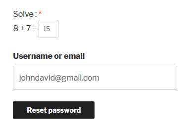 WooCommerce Reset Password Logical Captcha